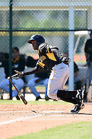 Pittsburgh Pirates outfielder Barrett Barnes (10) during a minor league spring training intrasquad game on March 30, 2014 at Pirate City in Bradenton, Florida.  (Mike Janes/Four Seam Images)