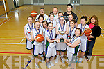 ALL IRELAND CHAMPS: First year girls basketball team from Mercy Mounthawk were celebrating this week after winning the All Ireland Minor A Basketball Championship. Pictured were the team: Orlaith Casey, Caoimhe Barry Walsh, Courtney Ryan (Captain), Alisha Finnerty, Edel Slattery, Sophie Browne, Ellen O'Brien, Sadhbh Walsh, Orla Sheehy, Jenny Fitzgerald, Caitriona Collins and Christine O'Sullivan with coaches Jimmy Diggins, Carmelita Ryan and Tomas Dowling.