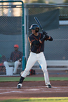 AZL Giants Black third baseman Abdiel Layer (17) at bat during an Arizona League game against the AZL Angels at the San Francisco Giants Training Complex on July 1, 2018 in Scottsdale, Arizona. The AZL Giants Black defeated the AZL Angels by a score of 4-2. (Zachary Lucy/Four Seam Images)