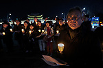 The Rev. Lee Hong-jung, general secretary of the National Council of Churches in Korea, participates in a candlelight vigil for peace in the Korean Peninsula on December 9, 2017, in Gwanghwamun Square in Seoul, South Korea. The ecumenical Advent vigil was part of &quot;A Light of Peace&quot; campaign sponsored by the World Council of Churches and the National Council of Churches of Korea.<br /> <br /> The candlelight vigils were held in Seoul December 3-9, after which churches throughout the country planned to continue the vigils in small towns and villages.