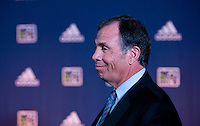 LA Galaxy head coach Bruce Arena talks to the media during the MLS SuperDraft at the Pennsylvania Convention Center in Philadelphia, PA, on January 16, 2014.