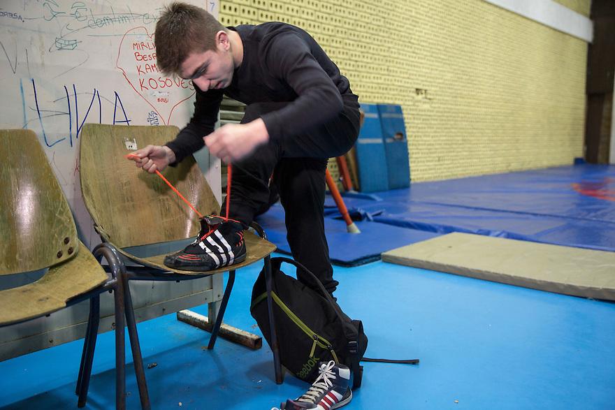 Dardan Syla is one of Kosovo's Olympic wrestling hopefuls. He trains in the capital city, Prishtina. PHOTO BY JODI HILTON
