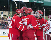 Jakob Forsbacka Karlsson (BU - 23), Jordan Greenway (BU - 18), Charlie McAvoy (BU - 7), Clayton Keller (BU - 19) - The Boston University Terriers defeated the University of Massachusetts Minutemen 5-3 on Sunday, January 8, 2017, at Fenway Park in Boston, Massachusetts.The Boston University Terriers defeated the University of Massachusetts Minutemen 5-3 on Sunday, January 8, 2017, at Fenway Park.