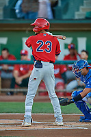 Jeremiah Jackson (23) of the Orem Owlz at bat against the Ogden Raptors at Lindquist Field on September 3, 2019 in Ogden, Utah. The Raptors defeated the Owlz 12-0. (Stephen Smith/Four Seam Images)