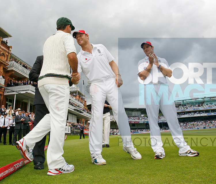 England's Andrew Flintoff shakes hands with Ricky Ponting