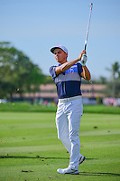 Rickie Fowler (USA) watches his approach shot on 12 during round 3 of the Honda Classic, PGA National, Palm Beach Gardens, West Palm Beach, Florida, USA. 2/25/2017.<br /> Picture: Golffile | Ken Murray<br /> <br /> <br /> All photo usage must carry mandatory copyright credit (&copy; Golffile | Ken Murray)