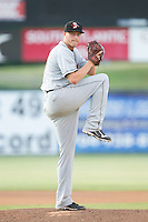 Delmarva Shorebirds starting pitcher Mitch Horacek (27) in action against the Kannapolis Intimidators at CMC-NorthEast Stadium on July 1, 2014 in Kannapolis, North Carolina.  The Intimidators defeated the Shorebirds 5-2. (Brian Westerholt/Four Seam Images)