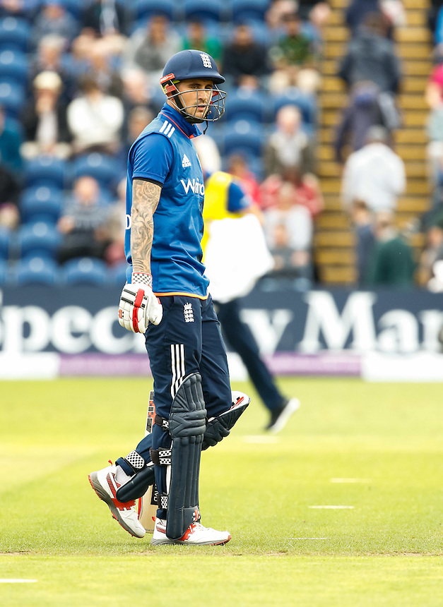 England's Alex Hales leaves the pitch after being caught<br /> <br /> Photographer Simon King/CameraSport<br /> <br /> 5th Royal London ODI - England v Pakistan - Sunday 4 September - Sophia Gardens - Cardiff<br /> <br /> World Copyright &copy; 2016 CameraSport. All rights reserved. 43 Linden Ave. Countesthorpe. Leicester. England. LE8 5PG - Tel: +44 (0) 116 277 4147 - admin@camerasport.com - www.camerasport.com