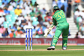 June 18th 2017, The Kia Oval, London, England;  ICC Champions Trophy Cricket Final; India versus Pakistan; Fakhar Zaman of Pakistan gets an inside edge and is caught behind but it's a no ball