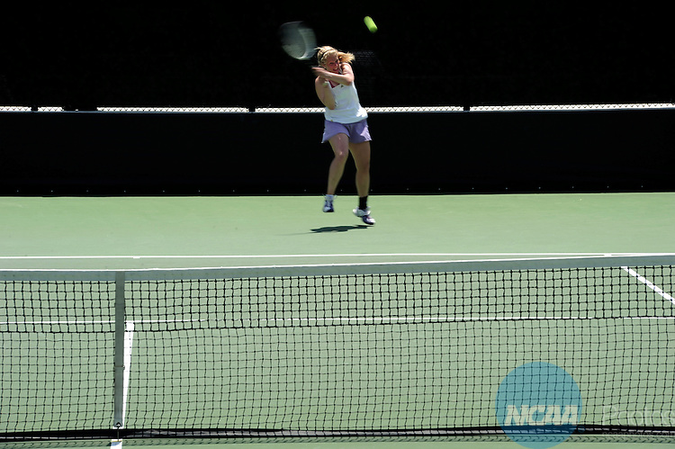 26 MAY 2011: Nikki Reich of Williams celebrates winning a point during the Division III Women's Tennis Championship held at the Biszantz Family Tennis Center and Pauley Tennis Complex in Claremont, CA. Williams defeated Amherst 5-4 for the national title. Stephen Nowland/NCAA Photos