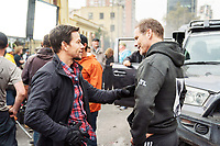 Behind the scenes photo of Mark Wahlberg in Mile 22 (2018)<br /> *Filmstill - Editorial Use Only*<br /> CAP/RFS<br /> Image supplied by Capital Pictures