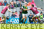 Dara Moynihan Kerry in action against John Maher Galway in the All Ireland Minor Football Final in Croke Park on Sunday.