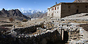 High valley homestead and unprotected sheep / domestic stock pen / corral. Ulley Valley, Himalayas, Ladakh, northern India.