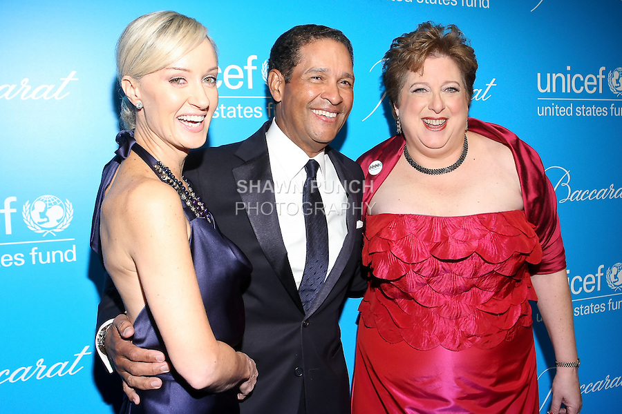 Hilary Gumbel, Bryant Gumbel, and Caryl Stern, pose at the UNICEF Snowflake Ball, Presented by Baccarat, at Cipriani 42nd Street, November 30, 2010.