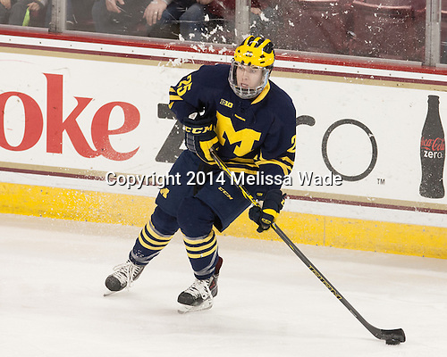 Max Shuart (Michigan - 25) - The Boston College Eagles defeated the visiting University of Michigan Wolverines 5-1 (EN) on Saturday, December 13, 2014, at Kelley Rink in Conte Forum in Chestnut Hill, Massachusetts.