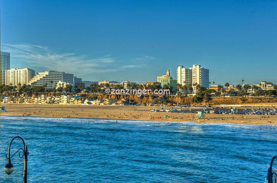 Santa Monica beach, Skyline, Cityscape, Pacific Ocean Waves, world-famous beach