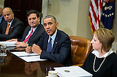 From left, Jeh Johnson, Secretary of Homeland Security, Ron Klain, Ebola Response Coordinator look on as United States President Barack Obama speaks to the media during a meeting with his national security and public health teams concerning the government's Ebola response, in the Roosevelt Room of the White House, on November 18, 2014, in Washington, DC.  Lisa Monaco, Homeland Security Advisor to President Obama, looks on at far right. President Obama called on Congress to approve $6.2 billion in emergency spending to fight Ebola in West Africa.  <br /> Credit: Drew Angerer / Pool via CNP