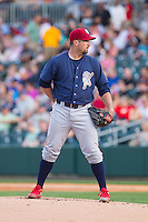 Lehigh Valley IronPigs starting pitcher Brad Lincoln (31) looks to his catcher for the sign against the Charlotte Knights at BB&T Ballpark on May 8, 2014 in Charlotte, North Carolina.  The IronPigs defeated the Knights 8-6.  (Brian Westerholt/Four Seam Images)