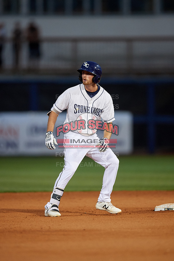 Charlotte Stone Crabs Tanner Dodson (10) doubles during a Florida State League game against the Fort Myers Miracle on April 6, 2019 at Charlotte Sports Park in Port Charlotte, Florida.  Fort Myers defeated Charlotte 7-4.  (Mike Janes/Four Seam Images)