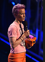 SANTA MONICA, CA - JULY 11: Megan Rapinoe accepts the Generation Change award on the Nickelodeon Kids' Choice Sports 2019 at the Barker Hangar on July 11, 2019 in Santa Monica, California. (Photo by Frank Micelotta/PictureGroup)