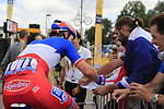 French National Champion Arnaud Demare (FRA) FDJ at sign on in Mondorf-les-Bains before the start of Stage 4 of the 104th edition of the Tour de France 2017, running 207.5km from Mondorf-les-Bains, Luxembourg to Vittel, France. 4th July 2017.<br /> Picture: Eoin Clarke | Cyclefile<br /> <br /> <br /> All photos usage must carry mandatory copyright credit (&copy; Cyclefile | Eoin Clarke)