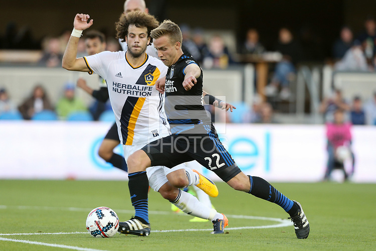 San Jose, CA - Saturday May 27, 2017: João Pedro, Tommy Thompson during a Major League Soccer (MLS) match between the San Jose Earthquakes and the Los Angeles Galaxy at Avaya Stadium.
