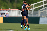 Cary, North Carolina  - Saturday April 29, 2017: Lynn Williams (9) celebrates her goal with Jessica McDonald (right) during a regular season National Women's Soccer League (NWSL) match between the North Carolina Courage and the Orlando Pride at Sahlen's Stadium at WakeMed Soccer Park.