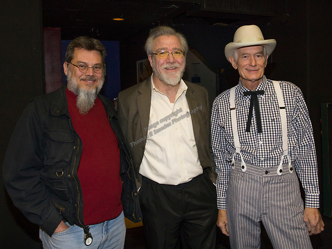 """Richard Lalonde, Tod Colegrove and Michael """"Danger Ranger"""" Mikel during the Take 5 fundraiser at the Bruka Theatre on Saturday night, Jan. 13, 2018."""