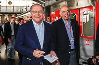 SAO PAULO, SP, 26 JULHO 2012 - ENTREGA TREM CPTM - O governador Geraldo Alckmin durante entrega na manha dessa quarta-feira, 26 dois novos trens da CPTM (Companhia Paulista de Trens Metropolitanos), linha 8-Diamante (Julio Prestes-Itapevi). Desde 2006, já foram adquiridos 105 trens. Com a entrega desses 2 trens, já são 74 novos trens em operação em todas as linhas. Os 31 trens restantes serão entregues gradativamente até 2013. FOTO: VANESSA CARVALHO - BRAZIL PHOTO PRESS.