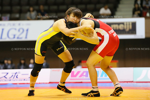 (L-R) Yu Miyahara, Nanami Irie (JPN), JUNE 15, 2013 - Wrestling : All Japan Invitational Wrestling Championship, Women's Free Style -51kg Final at Yoyogi 2nd Gymnasium, Tokyo, Japan. (Photo by AFLO SPORT) [1156]