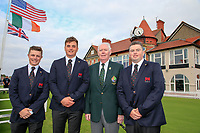 Conor Purcell  (GB&I) James Sugrue (GB&I) Jim McGovern President Golfing Union of Ireland and Caolan Rafferty  (GB&I) during the opening ceremony at the Walker Cup, Royal Liverpool Golf CLub, Hoylake, Cheshire, England. 06/09/2019.<br /> Picture Fran Caffrey / Golffile.ie<br /> <br /> All photo usage must carry mandatory copyright credit (© Golffile | Fran Caffrey)