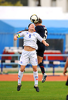 USA's Lori Lindsey wins a header vs. Iceland's Katrin Jonsdottir.  The USWNT defeated Iceland (2-0) at Vila Real Sto. Antonio in their opener of the 2010 Algarve Cup on February 24, 2010.