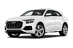 Stock pictures of low aggressive front three quarter view of a 2019 Audi q8 Premium Plus 5 Door SUV