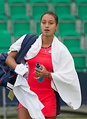 June 10th 2017,  Nottingham, England; WTA Aegon Nottingham Open Tennis Tournament day 1; Eden Silva of Great Britain leaves the court after her victory over Deniz Khazaniuk of Israel in two sets