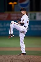 San Jose Giants relief pitcher Tyler Schimpf (46) delivers a pitch during a California League game against the Modesto Nuts at San Jose Municipal Stadium on May 15, 2018 in San Jose, California. Modesto defeated San Jose 7-5. (Zachary Lucy/Four Seam Images)