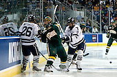 Mark Arcobello (Yale - 26), Wahsontiio Stacey (Vermont - 9), Brian O'Neill (Yale - 9) - The University of Vermont Catamounts defeated the Yale University Bulldogs 4-1 in their NCAA East Regional Semi-Final match on Friday, March 27, 2009, at the Bridgeport Arena at Harbor Yard in Bridgeport, Connecticut.