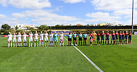20200304  Parchal , Portugal : Both team line ups pictured during the female football game between the national teams of Denmark and Norway on the first matchday of the Algarve Cup 2020 , a prestigious friendly womensoccer tournament in Portugal , on wednesday 4 th March 2020 in Parchal , Portugal . PHOTO SPORTPIX.BE | DAVID CATRY