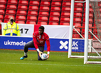 7th July 2020; City Ground, Nottinghamshire, Midlands, England; English Championship Football, Nottingham Forest versus Fulham; Brice Samba of Notts Forest warms up in goal before the match
