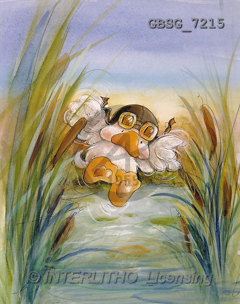 Ron, CUTE ANIMALS, Quacker, paintings, duck, flying(GBSG7215,#AC#) Enten, patos, illustrations, pinturas