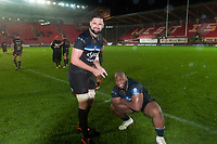 Elliott Stooke and Beno Obano of Bath Rugby pose for a photo after the match. European Rugby Champions Cup match, between the Scarlets and Bath Rugby on October 20, 2017 at Parc y Scarlets in Llanelli, Wales. Photo by: Patrick Khachfe / Onside Images