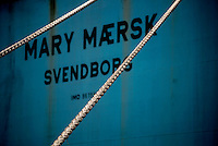 The Mary Maersk, the largest container ship in the world, in port.