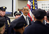 United States President Barack Obama speaks to members of the NYPD at the First Precinct before visiting Ground Zero, the site of the former Twin Towers, days after Osama Bin Laden was killed by U.S. Navy Seals almost 10 years after the terrorist attacks on the World Trade Center in New York on May 5, 2011.   .Credit: John Angelillo / Pool via CNP