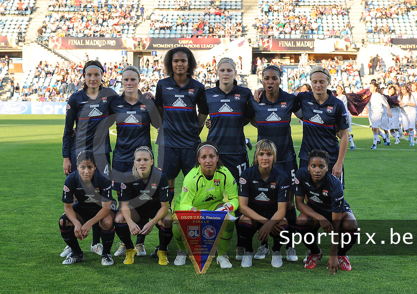 Uefa Women 's Champions League Final 2010 at  Coliseum Alfonso Perez in Getafe , Madrid : Olympique Lyon - Turbine Potsdam : Team Lyon with : Sarah Bouhaddi , Corine Franco , Laura Georges , Wendie Renard , Amelie Ryback , Shirley Cruz Trana , Ingvild Stensland , Amandine Henry , Louisa Necib , Lara Dickenmann and Elodie Thomis.foto DAVID CATRY / Vrouwenteam.be
