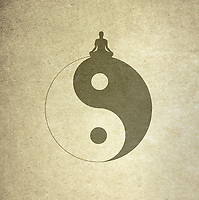Woman meditating on top of yin yang symbol