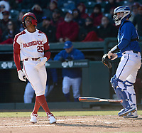 Arkansas center fielder Christian Franklin tosses his bat Friday, Feb. 14, 2020, after hitting a 2-run home run during the fifth inning against Eastern Illinois at Baum-Walker Stadium in Fayetteville. Visit nwaonline.com/200214Daily/ for today's photo gallery.<br /> (NWA Democrat-Gazette/Andy Shupe)
