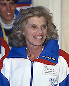 Eunice Kennedy Shriver, a sister of United States President John F. Kennedy and a champion of the disabled who founded the Special Olympics, visits the Grand Foyer of the White House with Special Olympians to meet U.S. President Bill Clinton in Washington, D.C. on March 11, 1993.  <br /> Credit: Ron Sachs / CNP