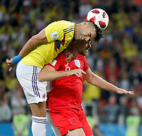 MOSCU - RUSIA, 03-07-2018: Radamel FALCAO GARCIA (Izq) jugador de Colombia disputa el balón con Jordan HENDERSON (Der) jugador de Inglaterra durante partido de octavos de final por la Copa Mundial de la FIFA Rusia 2018 jugado en el estadio del Spartak en Moscú, Rusia. / xRadamel FALCAO GARCIA (L) player of Colombia fights the ball with Jordan HENDERSON (R) player of England during match of the round of 16 for the FIFA World Cup Russia 2018 played at Spartak stadium in Moscow, Russia. Photo: VizzorImage / Julian Medina / Cont
