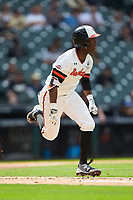 Darien Simms (4) of the Sam Houston State Bearkats hustles down the first base line against the Vanderbilt Commodores in game one of the 2018 Shriners Hospitals for Children College Classic at Minute Maid Park on March 2, 2018 in Houston, Texas. The Bearkats walked-off the Commodores 7-6 in 10 innings.   (Brian Westerholt/Four Seam Images)