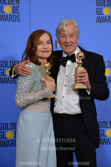 Isabelle Huppert &amp; Paul Verhoeven at the 74th Golden Globe Awards  at The Beverly Hilton Hotel, Los Angeles USA 8th January  2017<br /> Picture: Paul Smith/Featureflash/SilverHub 0208 004 5359 sales@silverhubmedia.com