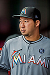 3 April 2017: Miami Marlins pitcher Junichi Tazawa stands in the dugout prior to a game against the Washington Nationals on Opening Day at Nationals Park in Washington, DC. The Nationals defeated the Marlins 4-2 to open the 2017 MLB Season. Mandatory Credit: Ed Wolfstein Photo *** RAW (NEF) Image File Available ***